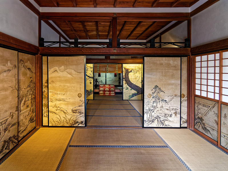 Paintings of the four seasons decorate the sliding doors within one of the temple buildings.