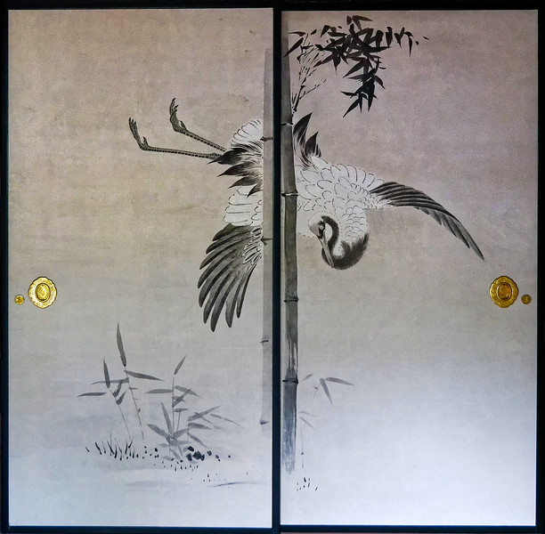 Painting on sliding doors in one of the temple buildings