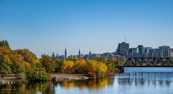 Lemieux Island and Downtown Ottawa From Lemieux Island Bridge