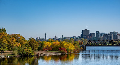 Lemieux Island and Downtown Ottawa From Lemieux Island Bridge