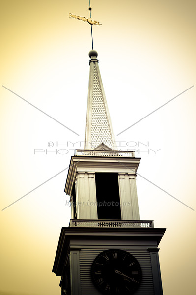 An eerie view of Damariscotta Baptist Church Steeple.