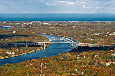 The Bourne and Sagamore Bridges crossing the Cape Cod canal.
