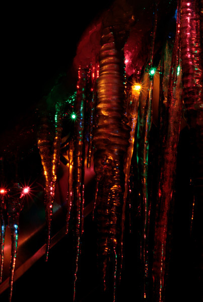 I was really excited to find these icicles covering our Christmas lights! Made my search for Christmas light photography a little more interesting!
