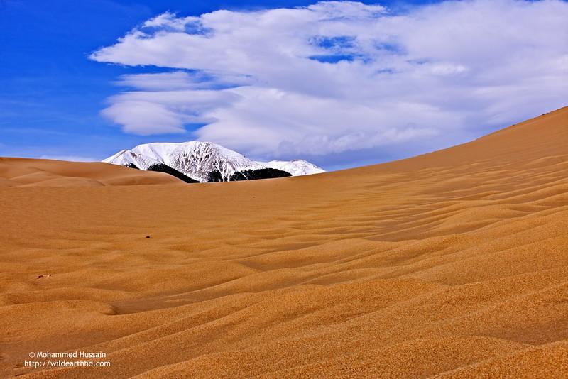 View of the Mount Herard (Elevation 13.353 ft), Majestic Sangre de Cristo Range. ~ Great Sand Dunes National Park & Preserve, Mosca, CO