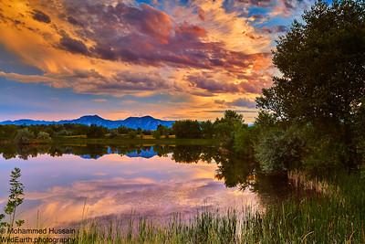 Boulder Summer Sunset, Walden Ponds Wildlife Habitat,Boulder