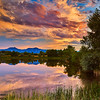 Boulder Summer Sunset, Walden Ponds Wildlife Habitat,Boulder