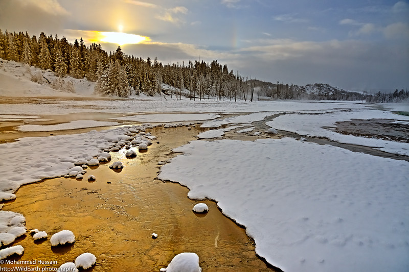Sunset on Porcelain  Basin - Yellowstone National Park, WY