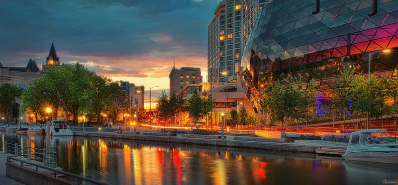 Rideau Canal, Ottawa downtown area.