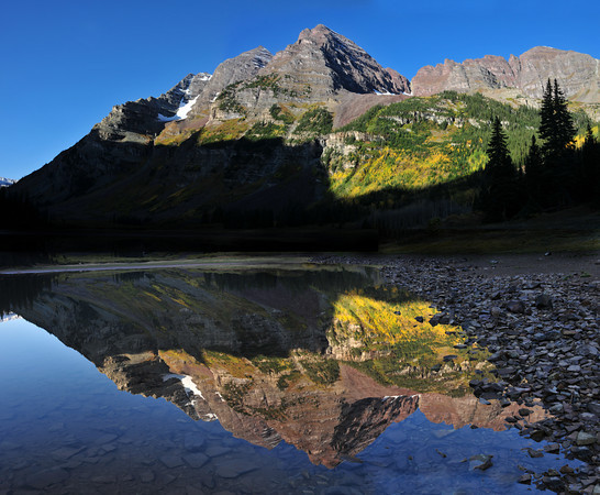Maroon Bells reflect in Crater Lake<br /> <br /> My wide angle is not wide enough to capture the entire scene.<br /> So this is four frames, manually stitched together by me in Photoshop 7.