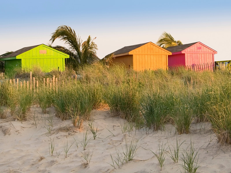 """Colors on the Beach""<br /> Colorful shacks on the beach in Sea Bright, along the Jersey shore."