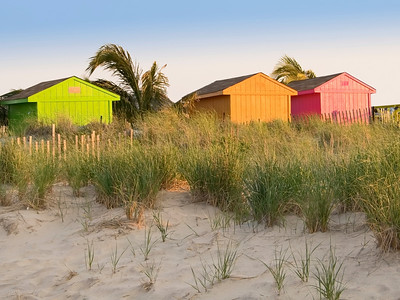 """Colors on the Beach"" Colorful shacks on the beach in Sea Bright, along the Jersey shore."