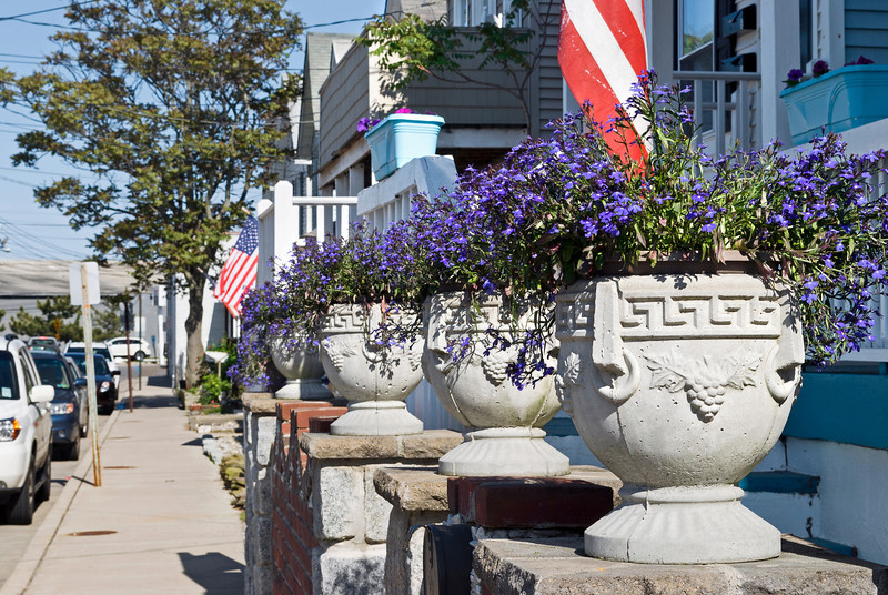 """Summer Neighborhood""<br /> <br /> Summer planters along this quiet street in Sea Bright, New Jersey."