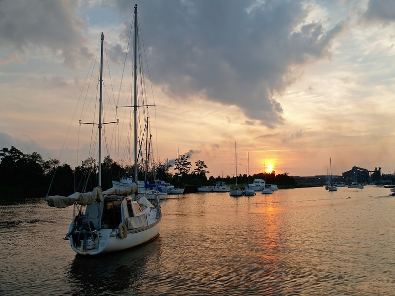 """Sailboat at Sunset""<br /> Boats at sunset on the Georgetown River in South Carolina."