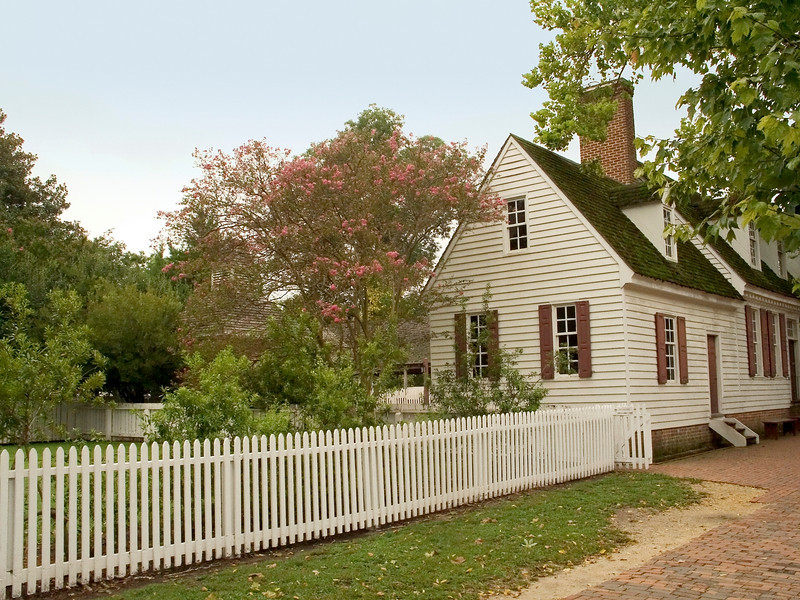 """Picket Fence Home""<br /> An old fashioned white Pickett fence surrounds this historic home in Colonial Williamsburg."