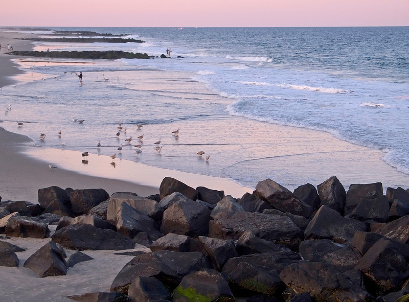 """""""Pastel Sunset""""<br /> A pastel colored sunset along the beach in Ocean Grove, New Jersey."""