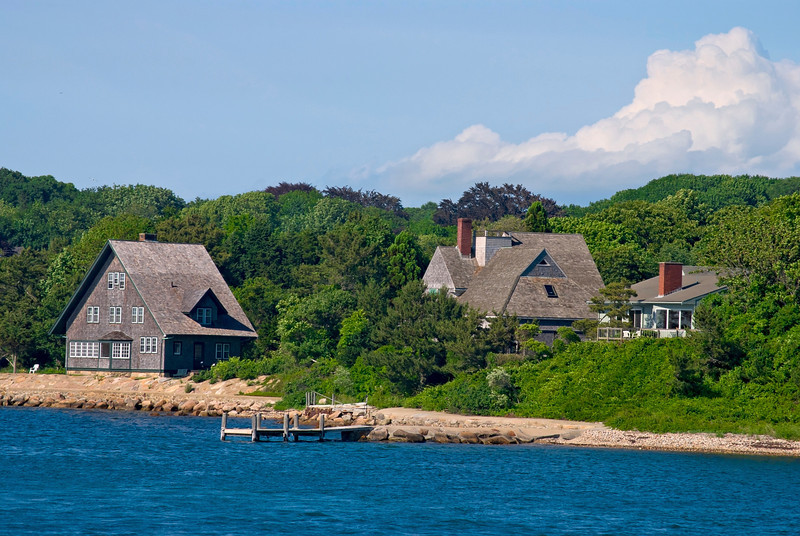 """Cape Cod Shoreline""  Homes along the shoreline of Woods Hole, Cape Cod, Massachusetts."