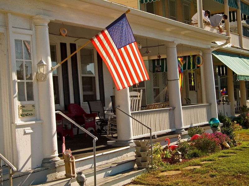 """Flag and Porch""<br /> A patriotic home in Ocean Grove, along the Jersey shore."