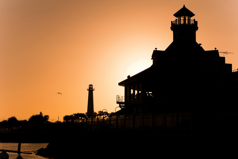 """""""Long Beach Sunset""""<br /> The sunset in Long Beach California with Long Beach Harbor lighthouse off in the distance."""