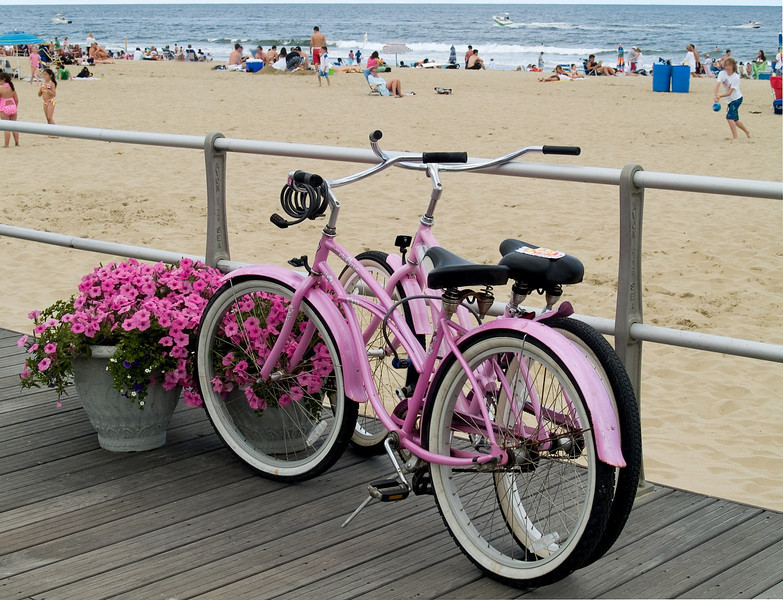 """Pink Bicycle""<br /> A pink bicycle on the noardwalk in Avon by the Sea along the Jersey Shore."