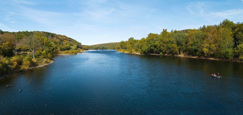 The Delaware River near the Delaware Water Gap in the Pocono Mountains of Pennsylvania.