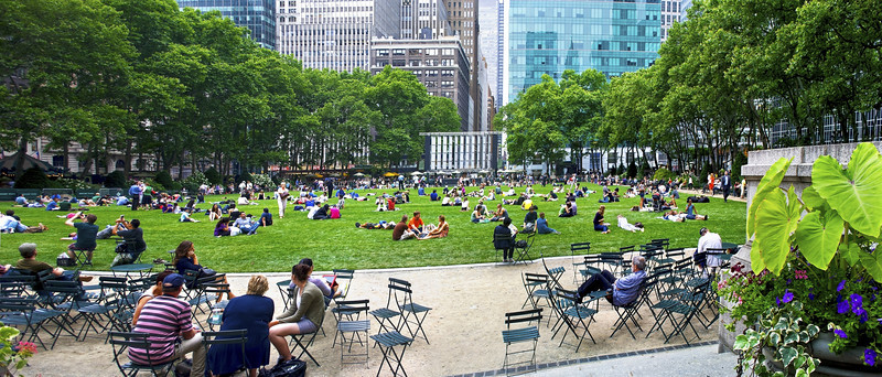 """Bryant Park Panorama"" 2011<br /> <br /> An early Summer panoramic view of  a crowded Bryant Park in Manhattan."