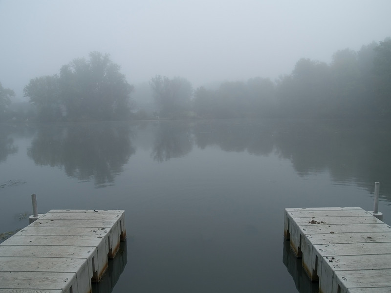 """Still Lake""<br /> A foggy morning view of Lake Weamaconk in Englistown, New Jersey."