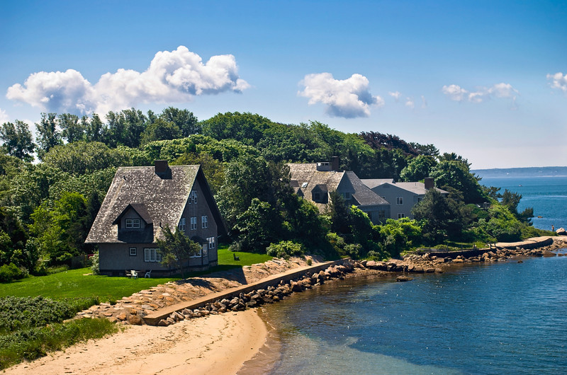 """Woods Hole Shoreline""<br /> <br /> A view of homes along the shoreline of Woods Hole on Cape Cod in Massachusetts."