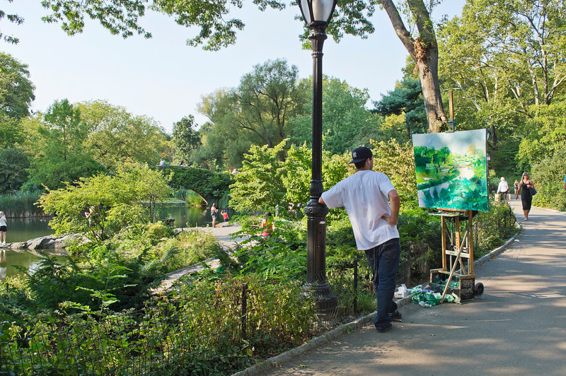 """Artist Central Park""<br /> <br /> NEW YORK - AUGUST 30: An artist paints a landscape on a nice Summer day in Central Park on August 30, 2012 in New York City.<br /> <br /> Editorial use only."