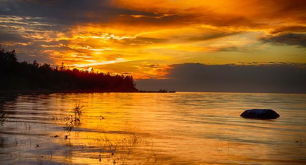 Lake Michigan Golden Reflection
