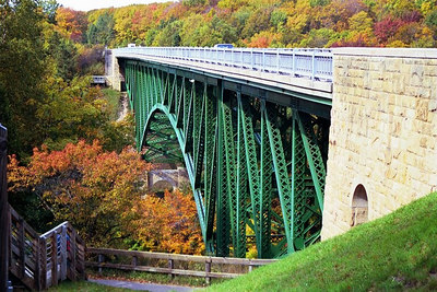 Bridge over colorful valley