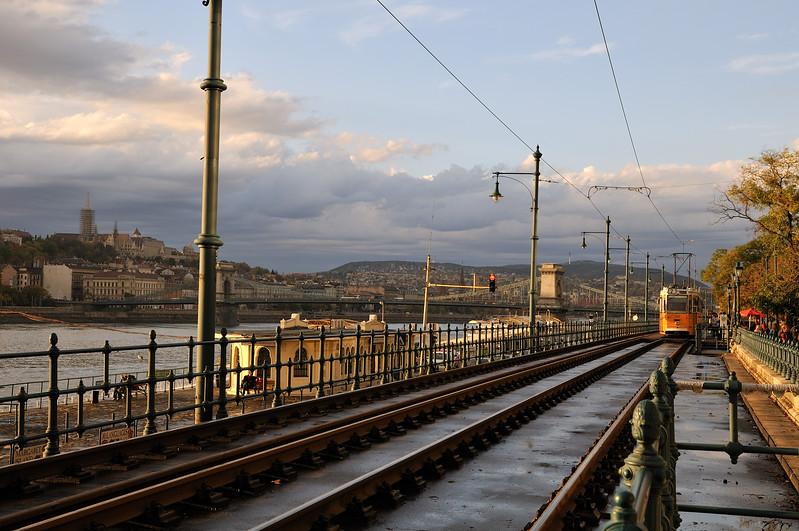 Pest streetcar along the Danube - Budapest, Hungary