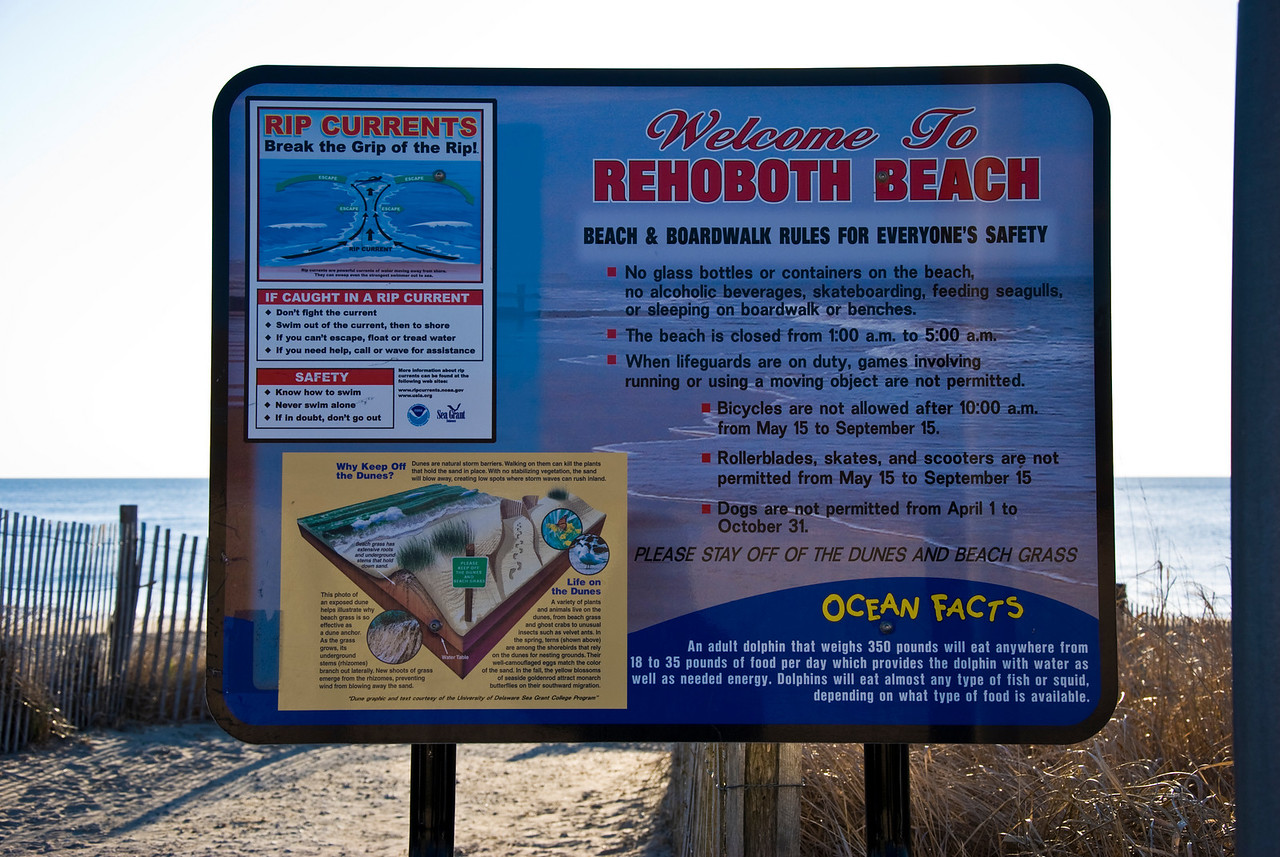 And here we have the beach & boardwalk rules for Rehoboth.