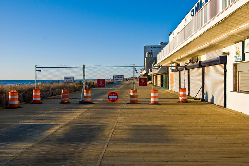 Portion of the Rehoboth boardwalk was closed off.  Apparently they were working on replacing the wood decking.
