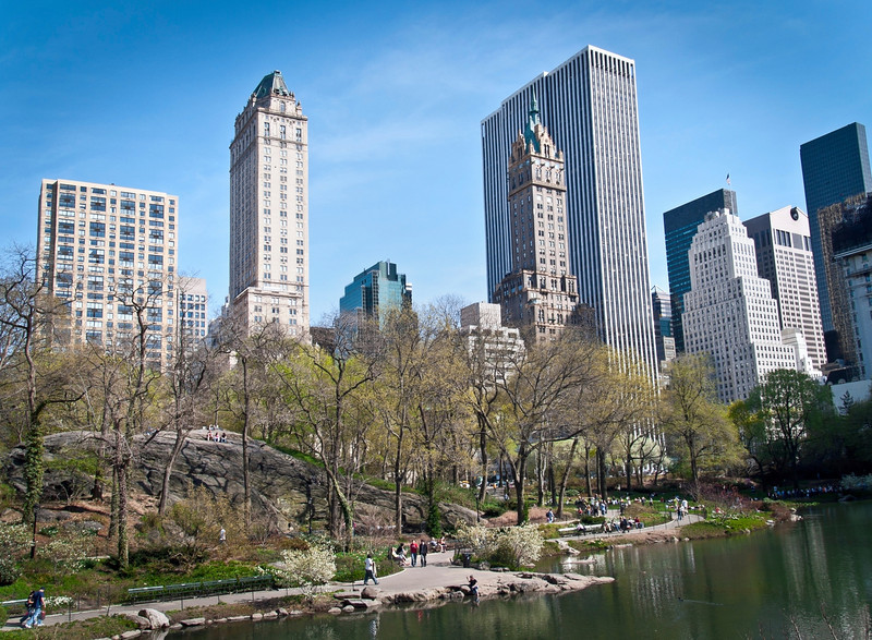 """Central Park Lake""<br /> <br /> A scenic early Spring view of the lake and surrounding buildings in Central Park."