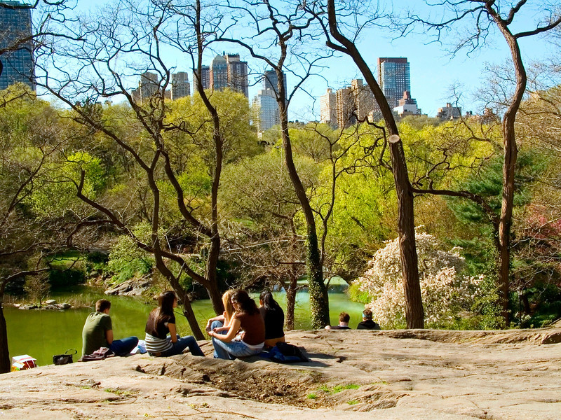 """Central Park View""<br /> Teens enjoying a nice day on the rocks in Central Park in Manhattan."