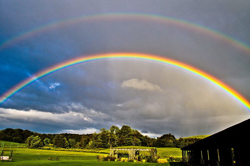 Stunning double rainbow arcing over lusch farmland in bucolic East Springfield NY on Labor Day weekend.