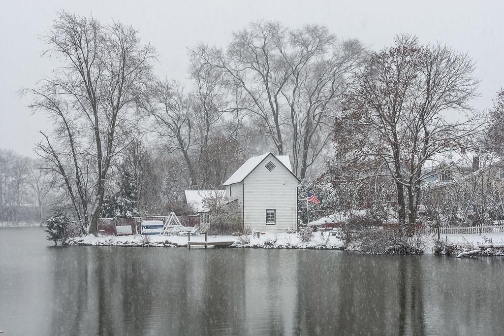 Lake Weamaconk Snow Scene