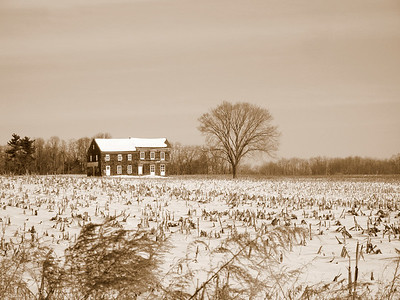 """Sepia Molly Pitcher House""  The historic Molly Pitcher home in Monmouth Battlefield State Park in New Jersey."