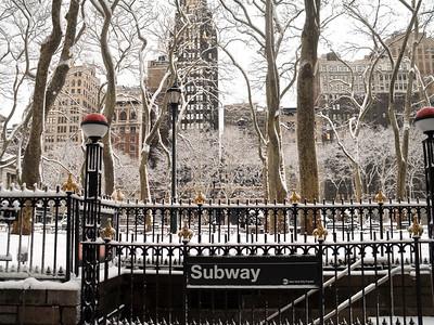 """Subway Snow""    A Winter scene near the Bryant Park subway station in Manhattan."