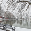 Snowy Benches by the Lake