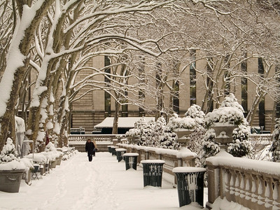 """""""Bryant Park Winter"""" A view of Bryant Park in Manhattan after a freshly fallen snow."""