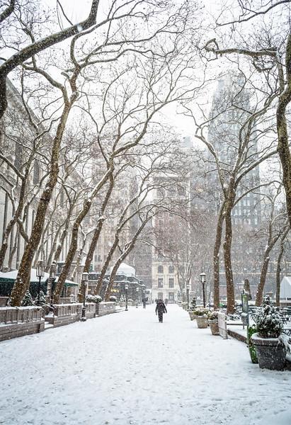 Snowing Bryant Park