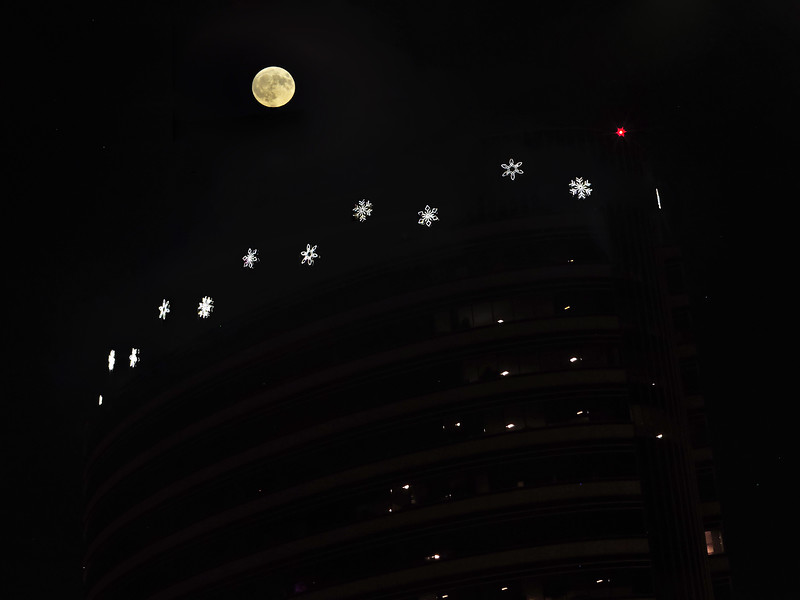 composite; different exposure required for moon and lights