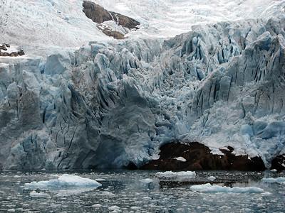 Glacier pushing into Prins Christian fjord, Greenland.