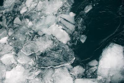 Bergy bits in front of glacier