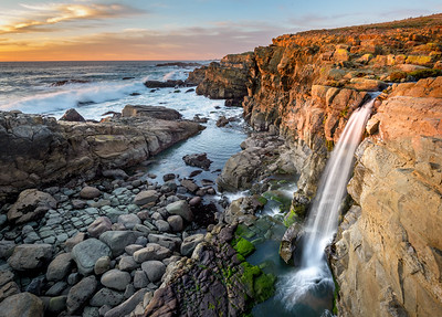 Coastal Waterfall in California