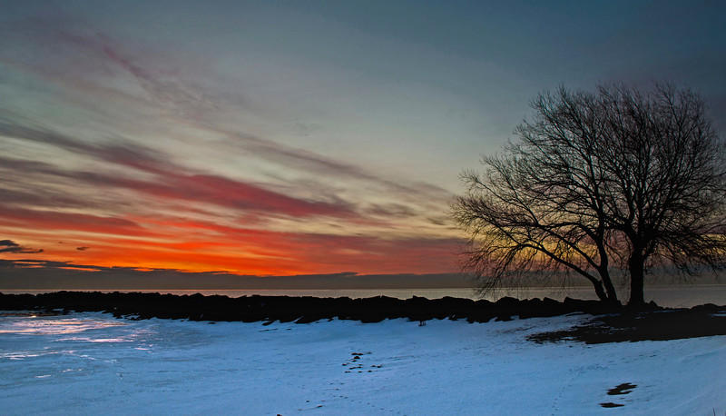 Winter sunrise on Lake Michigan. St. Francis Wisconsin.