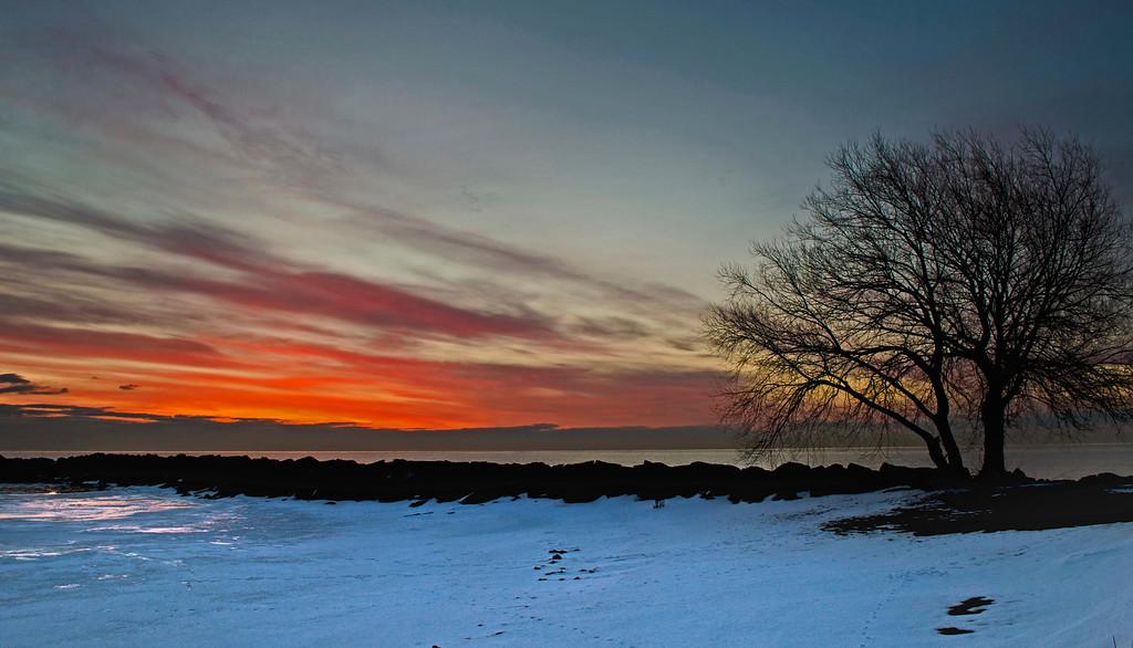 Winter sunrise on Lake Michigan. St. Francis Wisconsin.