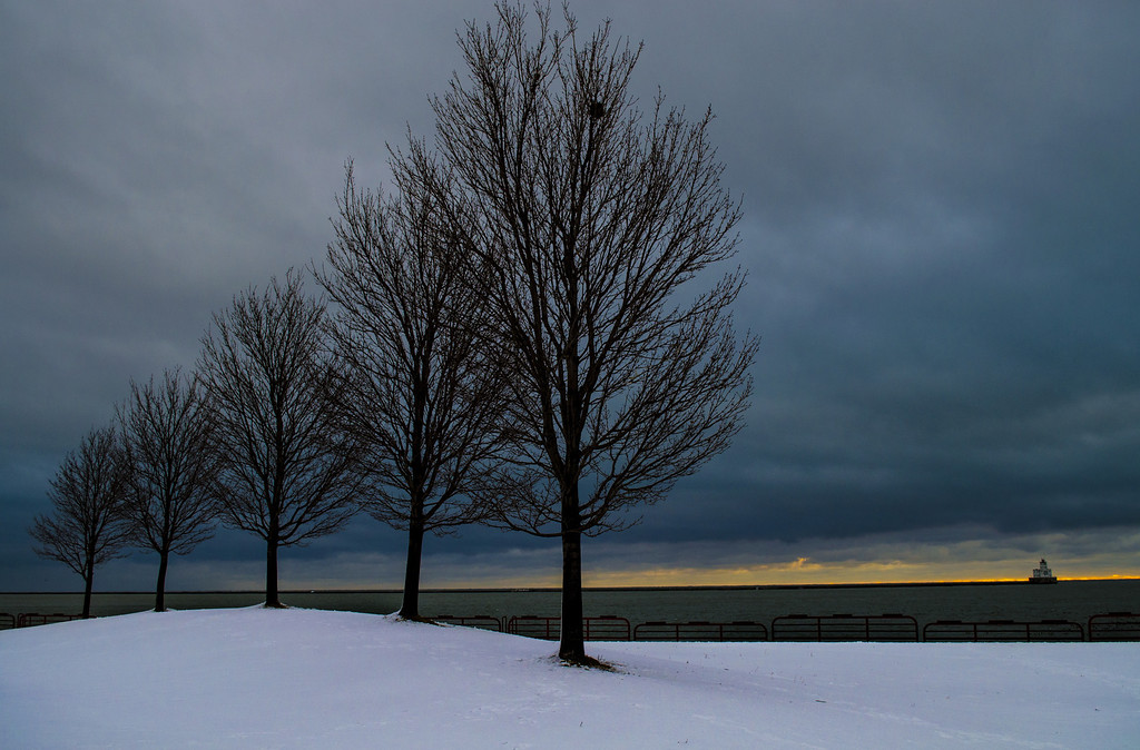 Sunrise, Dawn, Lake Michigan. Milwaukee Wisconsin