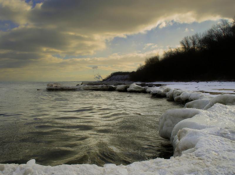Cold day on Lake Michigan. Sheridan Park, Cudahy Wisconsin.